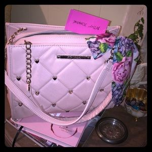 NWT Betsy Johnson blush quilted satchel